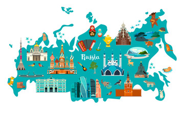 Russia vector map illustration. Hand draw atlas with Russian landmarks isolated on white background