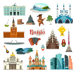 Fototapete - Russia City colorful vector collection. Russia  building and landmarks