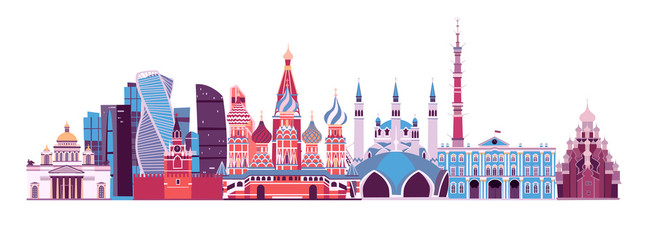 Russia skyline abstract Vector illustration. Travel landmarks. Moscow Kremlin palace. Isolated on white background