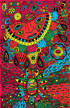 Graphic art with shamanic face and mineral ornaments. Doodle colorful psychedelic artwork. Vector illustration