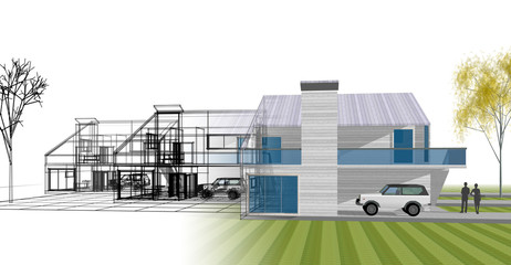 Deurstickers Dam house, architectural project, sketch, 3d illustration