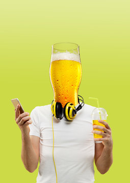 Male body with headphones and smartphone headed by a glass of beer against green background. Negative space to insert your text. Modern design. Contemporary art collage. Vacation, summer, resort.