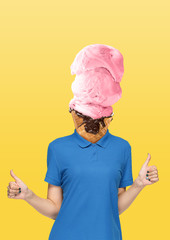 Female body in blue shirt headed by a strawberry icecream with chocolate on yellow background. Negative space to insert your text. Modern design. Contemporary art collage. Vacation, summer, resort.