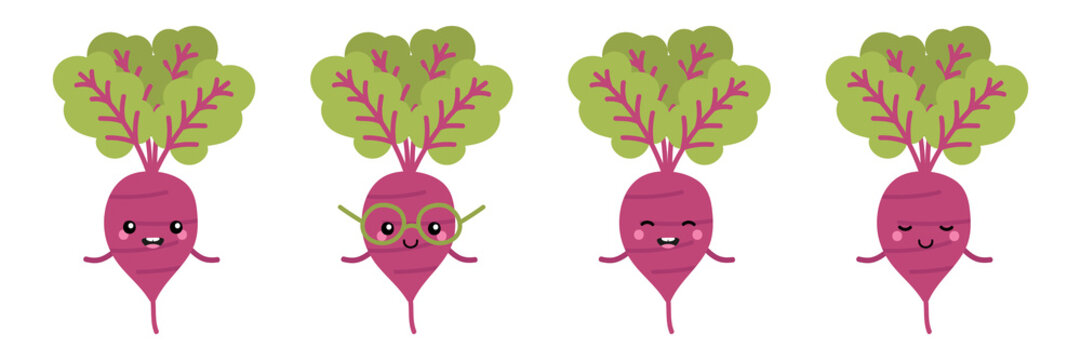 Set, collection of cute and happy cartoon style beet characters for autumn, organic food and harvest design.