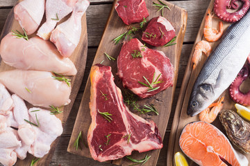 Assortment of meat and seafood Wall mural