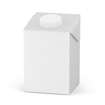 500ml. Cardboard package mockup set of juice or milk boxes isolated on white. 3D render