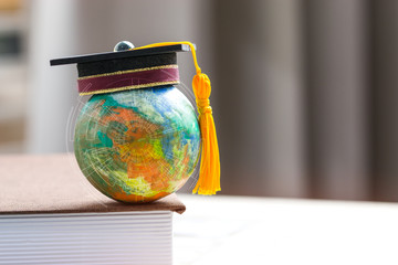 Education to learn study in world. Graduated student studying abroad international idea. Master...