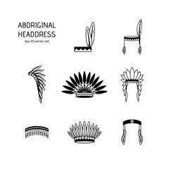 Set - Headdress of natives.