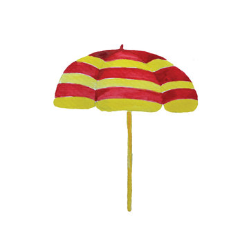 Watercolor Hand drown bright beach umbrella in kids style