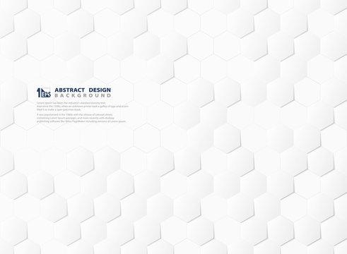 Abstract hexagon pattern technology 3d white and gray background. illustration vector eps10