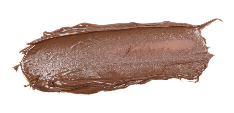 Cream chocolate spread isolated on white background, top view