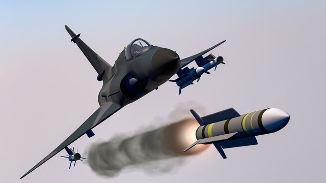 a fighter jet launches a missile (3d rendering)