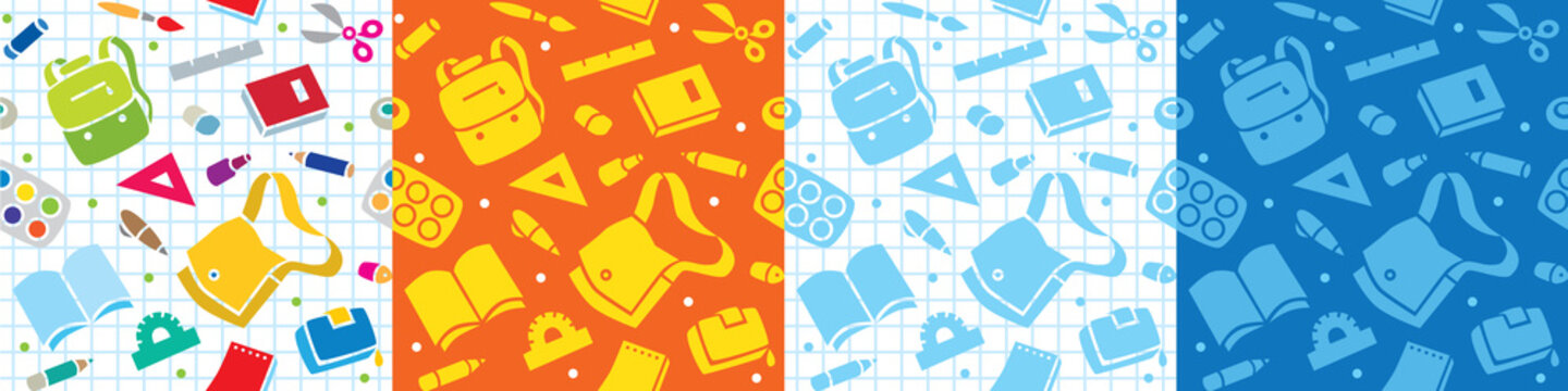 School seamless pattern set The education supplies