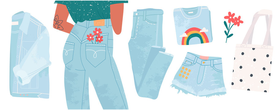 Light blue denim jeans pants, jacket, t-shirt with cool print, shorts and eco shopping bag. Hand drawn vector set. Trendy illustration. Flat design. Stamp texture. All elements are isolated