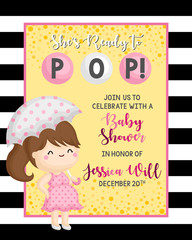 A Simple Baby Shower Invitation Card with Ready to Pop Baby Girl Theme