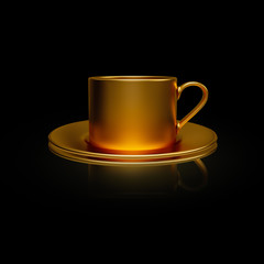 Flying golden coffee cup isolated on black background. 3D rendering model illustration