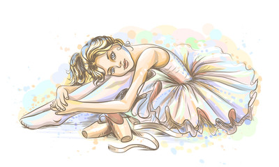 Ballet. Hand-drawn sketch of a cute little dreamy girl ballerina in a tutu with pointe shoes on a white background with watercolor splashes.
