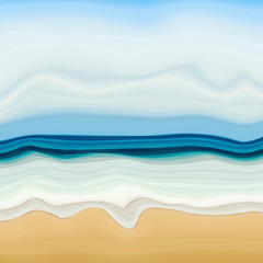 Soft Summer Beach Drawing with Sand and Sea Water