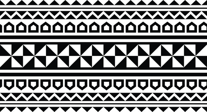 Polynesian tattoo tribal pattern border sleeve vector, samoan sketch forearm and foot design, maori stencil bracelet armband tattoo tribal, lace band fabric template seamless ornament, wallpaper