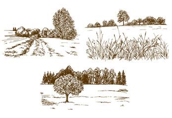 Rural landscape. Hand drawn set.