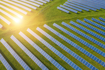 Droneshot of a Solar panel Farm green electricity produced Wall mural