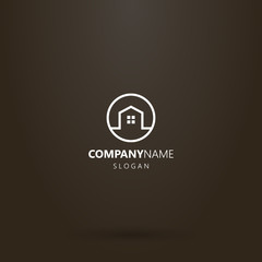 white logo on a black background. simple line art vector round logo of a private house