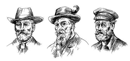 Set of man faces.