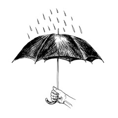Umbrella in the rain. Hand drawn illustration.