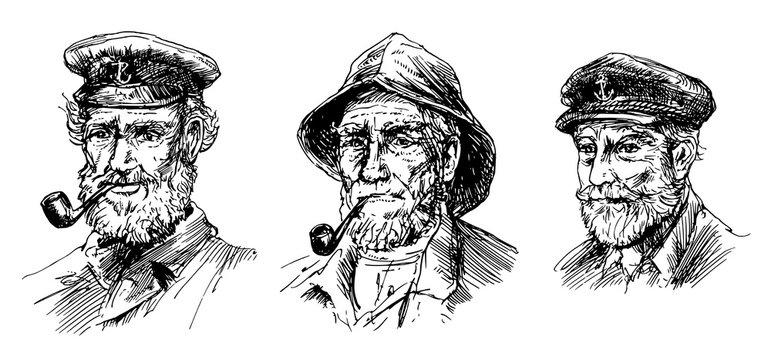 Captain of ship, sailor, hand drawn set.