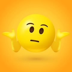 Puzzled emoticon shrugs shoulders - Don't know gesture