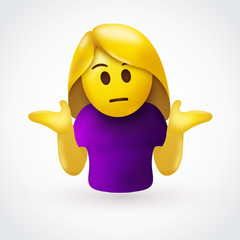 Puzzled woman emoticon shrugs shoulders - Don't know gesture