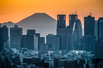 High Building at Tokyo Shinjuku and Top of Mt.Fuji at Behind in sunset