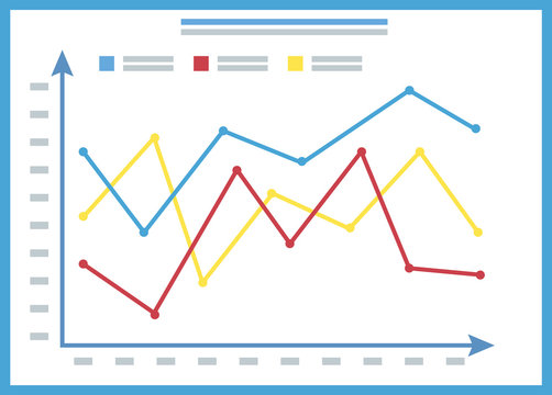Chart report, colorful lines and arrows, template of graph on board, statistic data, infochart on white, presentation icon, information symbol vector