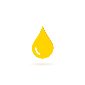 Oil drop icon in flat style. Vector yellow illustration graphic web design