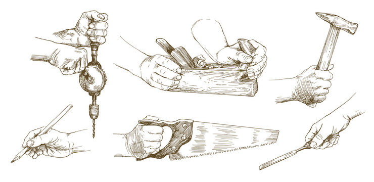 Carpenter hands working with a chisel and carving tools.