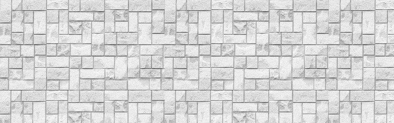 Panorama of White modern tile wall background and texture