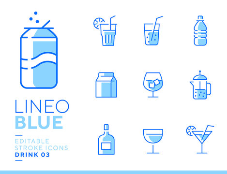 Lineo Blue - Drink and Alcohol line icons