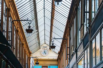 Foto auf Gartenposter Paris PARIS, FRANCE - APRIL 14, 2019: Covered Passage of Paris are an early form of shopping arcade built in Paris, France