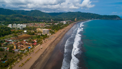 Aerial View from Jaco Beach at the Pacific in Costa Rica. Jaco is the closest Beach to reach from the Capital San Jose