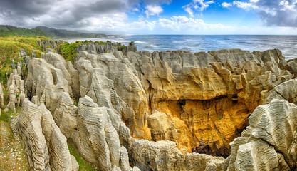 Panoramic view of the Pancake Rocks, New Zealand