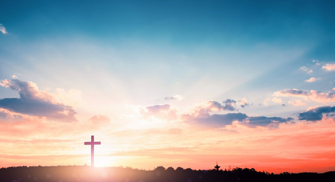 salvation concept:The Cross symbol of christian and Jesus Christ