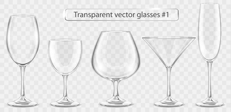 Set of transparent vector glass goblets for wine bar