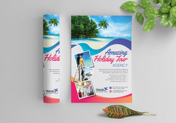 Flyer Layout with Colorful Ribbon Accents and Photo Header