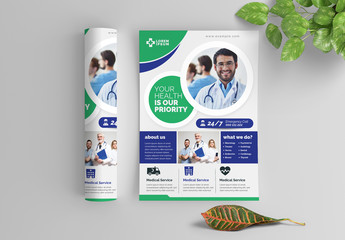 Green and Blue Medical Flyer Layout with Circular Elements