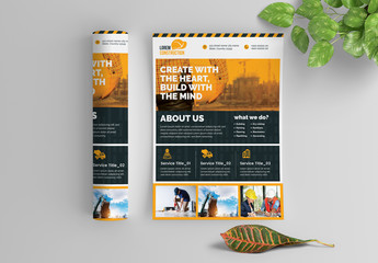 Construction Work Flyer Layout with Graphic Elements