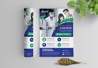 Medical Service Flyer Layout with Graphic Elements