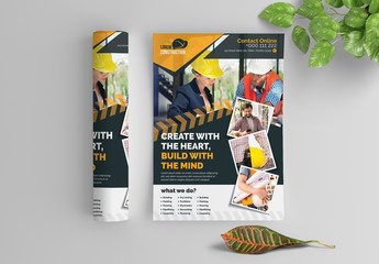 Construction Flyer Layout with Graphic Elements