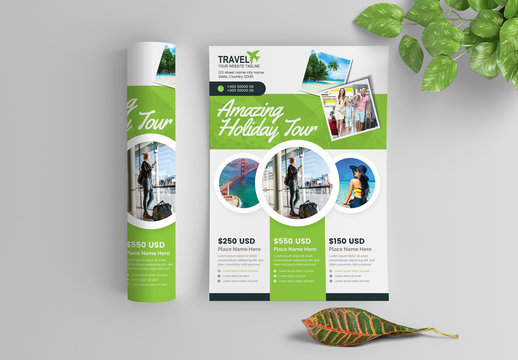 Green Business Flyer Layout with Circular Photo Elements