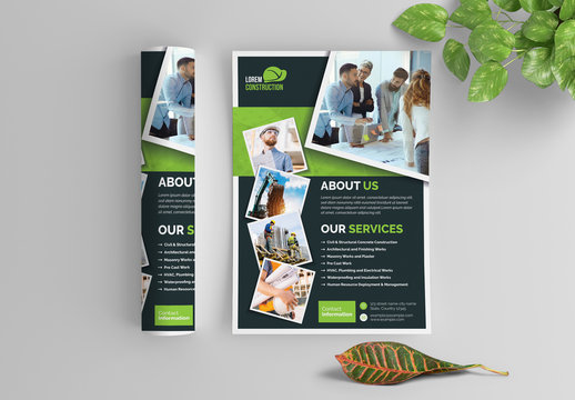 Business Flyer Layout with Dark Gray and Green Elements