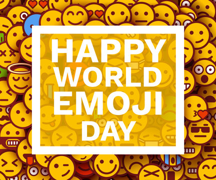 Happy world emoji day. Greeting card or banner. Emoji smiles crowd.